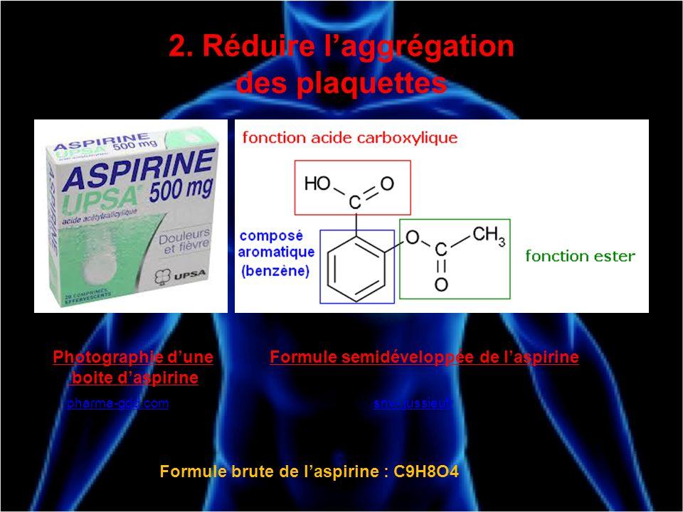 2. Réduire laggrégation des plaquettes Photographie dune boite daspirine pharma-gdd.com Formule semidéveloppée de laspirine snv-.jussieufr Formule bru