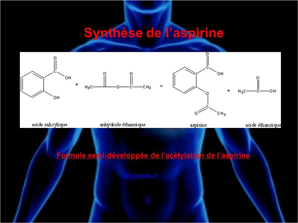 Synthèse de laspirine Formule semi-développée de lacétylation de laspirine snv-jussieu.fr