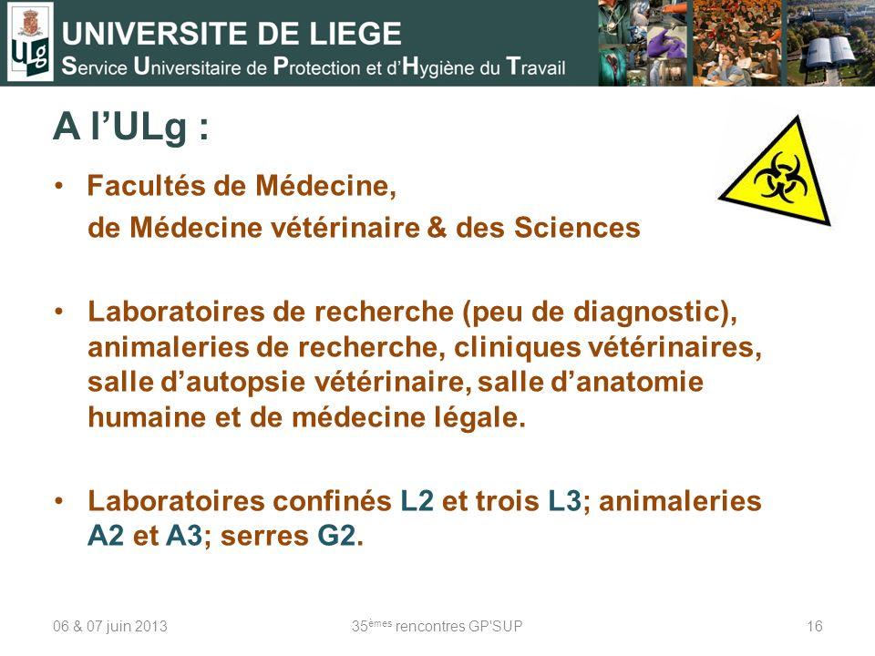 A lULg : Facultés de Médecine, de Médecine vétérinaire & des Sciences Laboratoires de recherche (peu de diagnostic), animaleries de recherche, cliniques vétérinaires, salle dautopsie vétérinaire, salle danatomie humaine et de médecine légale.