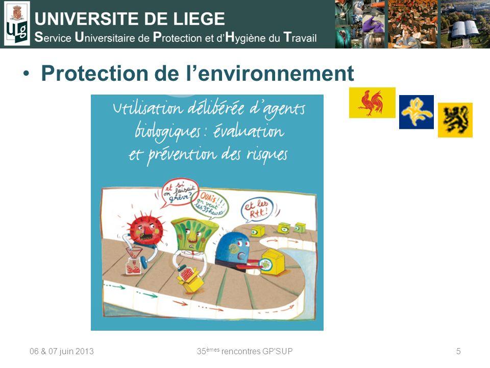 Protection de lenvironnement 06 & 07 juin 201335 èmes rencontres GP SUP5