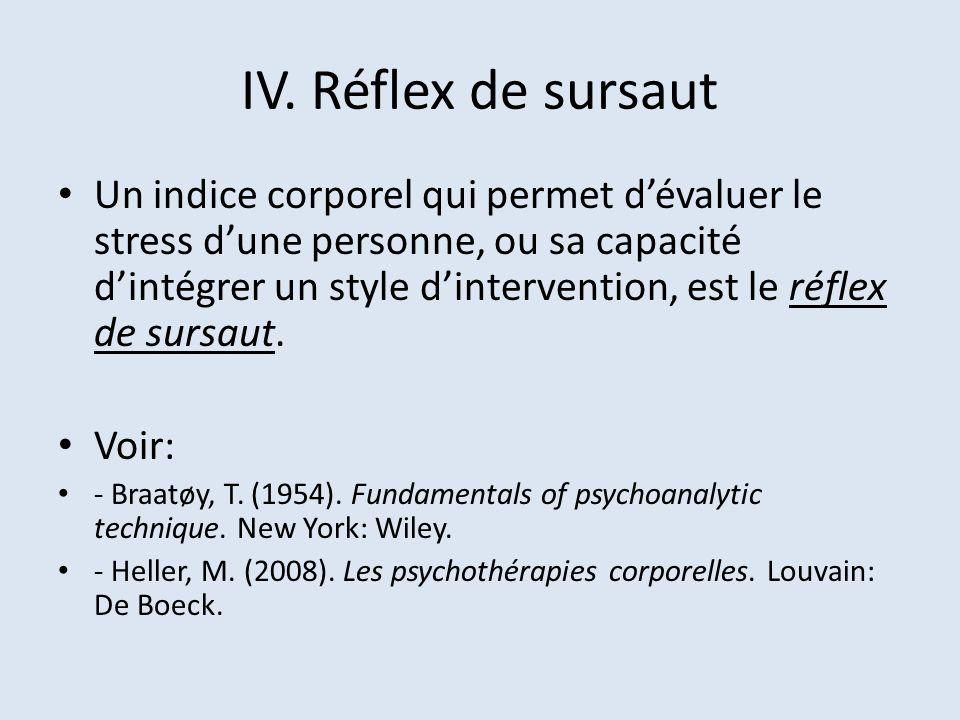 IV. Réflex de sursaut Un indice corporel qui permet dévaluer le stress dune personne, ou sa capacité dintégrer un style dintervention, est le réflex d