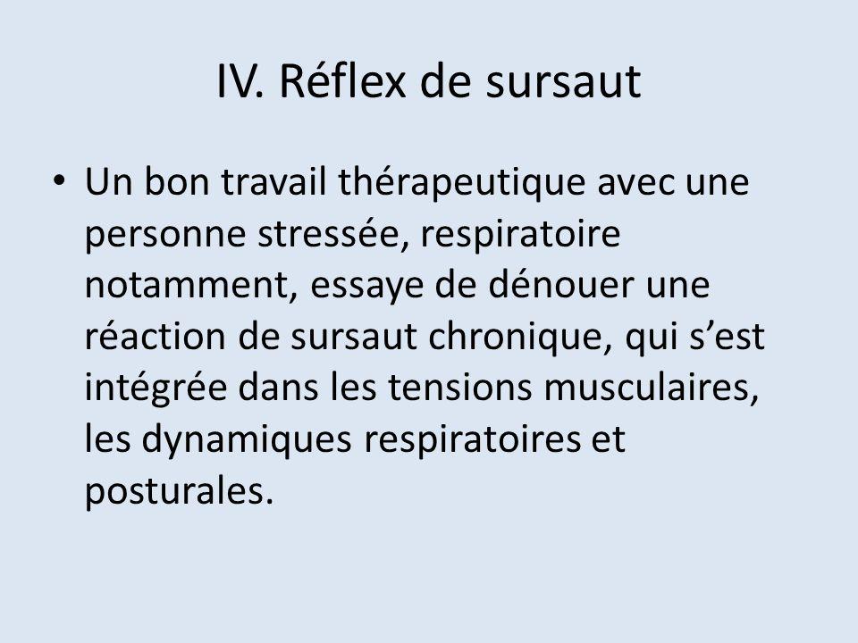 IV. Réflex de sursaut Un bon travail thérapeutique avec une personne stressée, respiratoire notamment, essaye de dénouer une réaction de sursaut chron