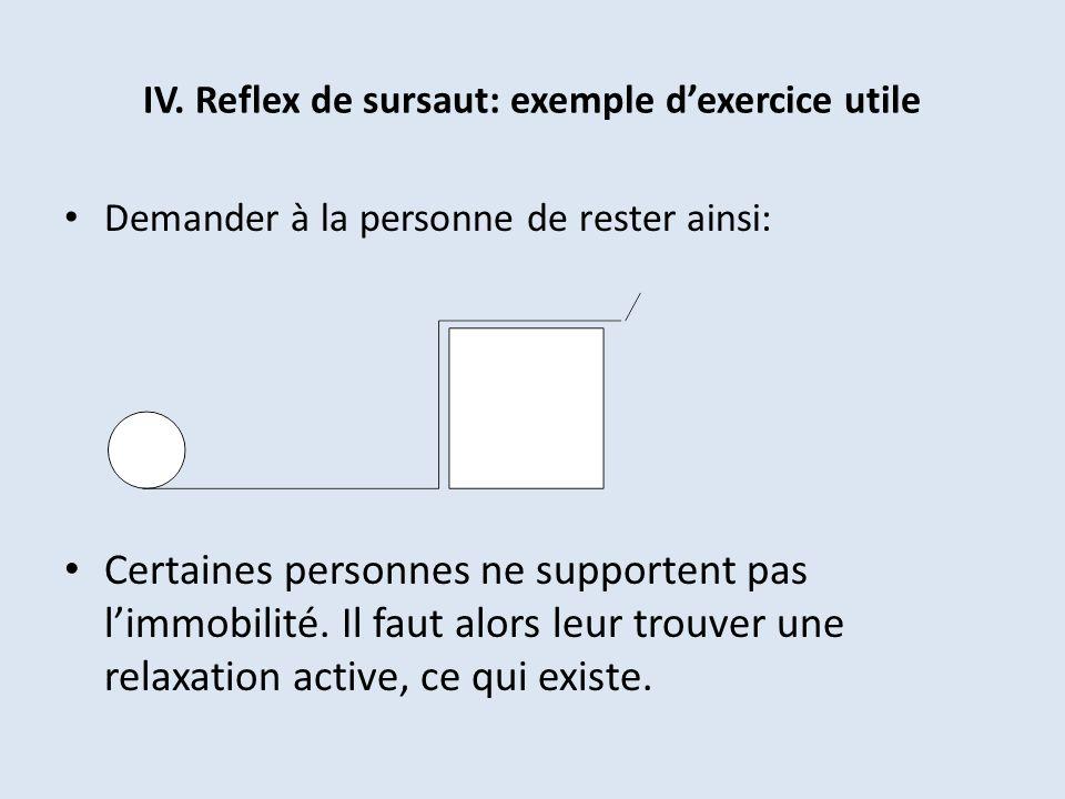 IV. Reflex de sursaut: exemple dexercice utile Demander à la personne de rester ainsi: Certaines personnes ne supportent pas limmobilité. Il faut alor