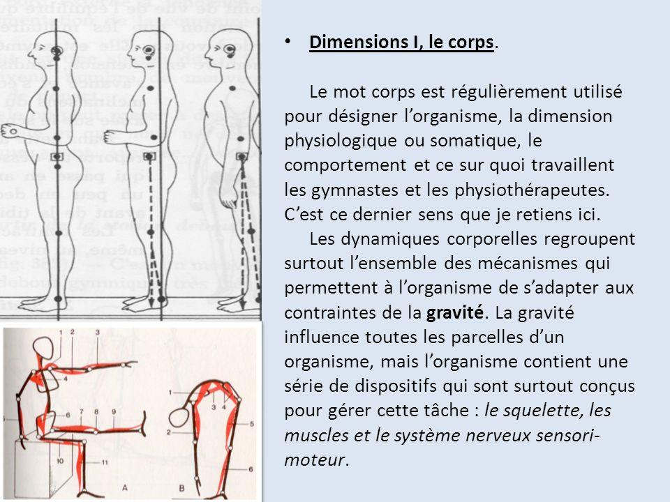 Dimensions I, le corps. Le mot corps est régulièrement utilisé pour désigner lorganisme, la dimension physiologique ou somatique, le comportement et c