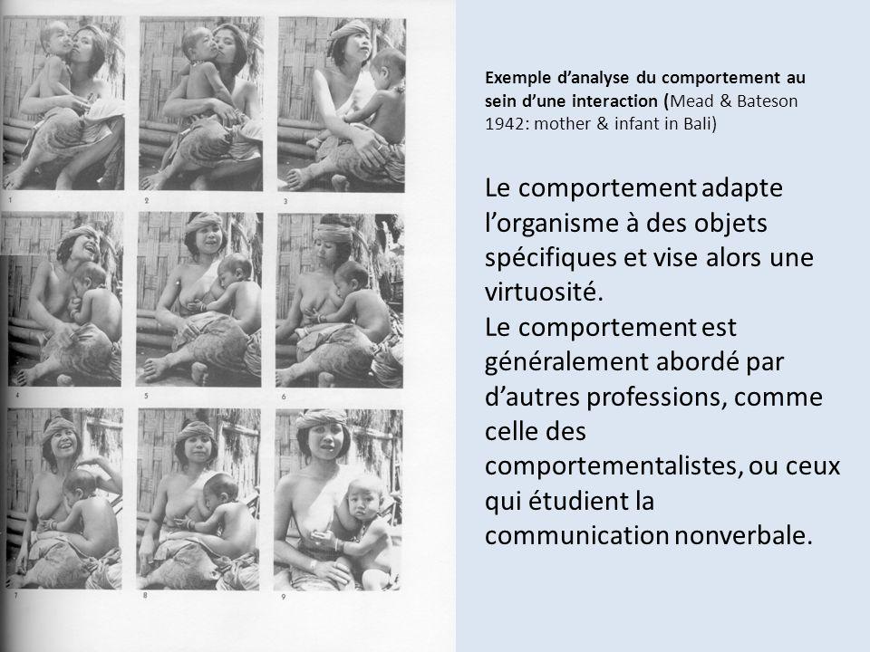Exemple danalyse du comportement au sein dune interaction (Mead & Bateson 1942: mother & infant in Bali) Le comportement adapte lorganisme à des objet