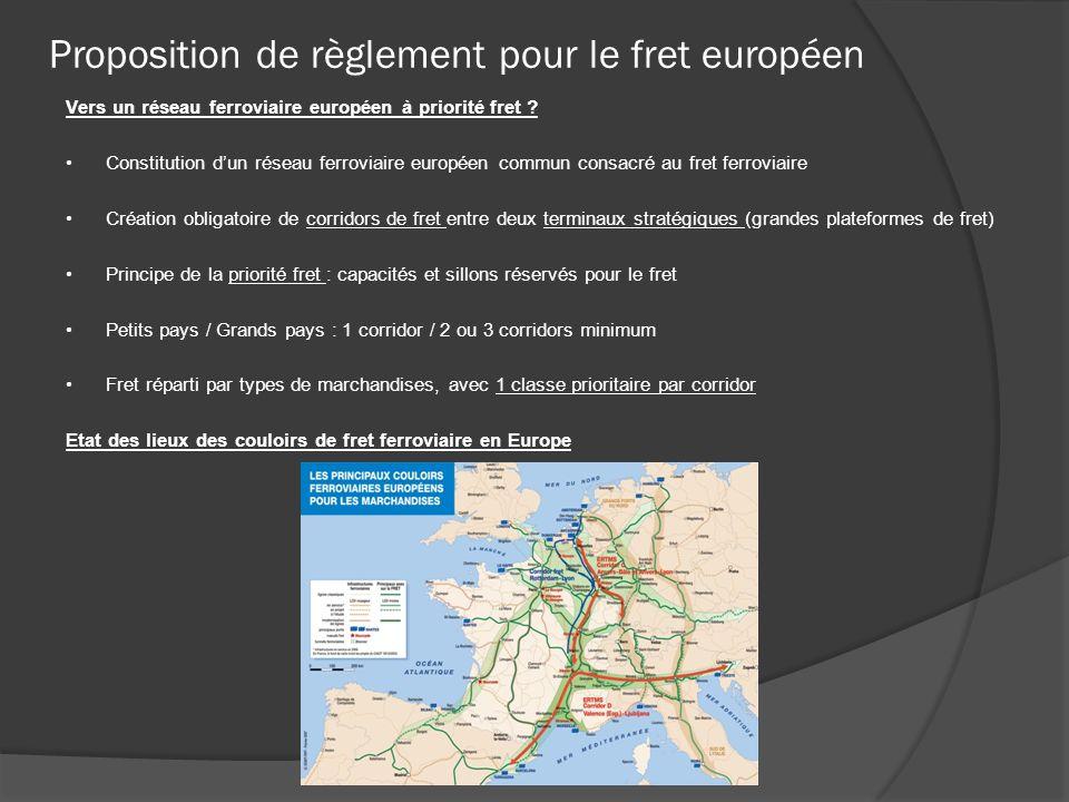 Proposition de règlement pour le fret européen Vers un réseau ferroviaire européen à priorité fret ? Constitution dun réseau ferroviaire européen comm