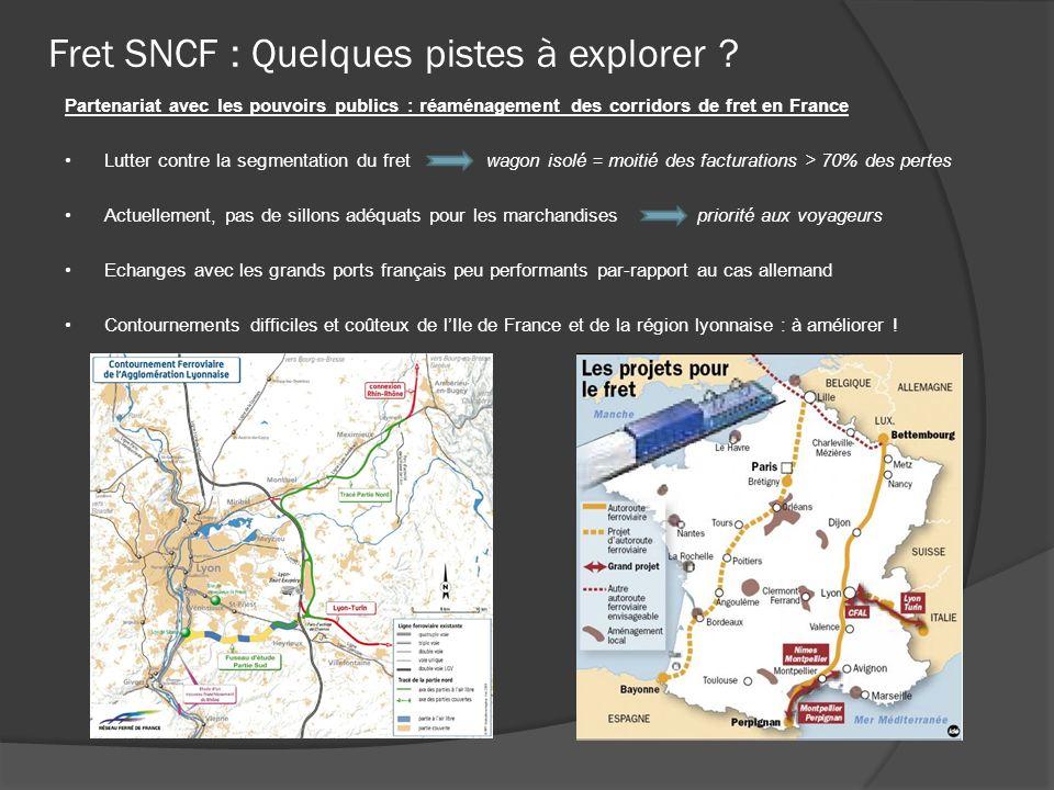 Fret SNCF : Quelques pistes à explorer ? Partenariat avec les pouvoirs publics : réaménagement des corridors de fret en France Lutter contre la segmen