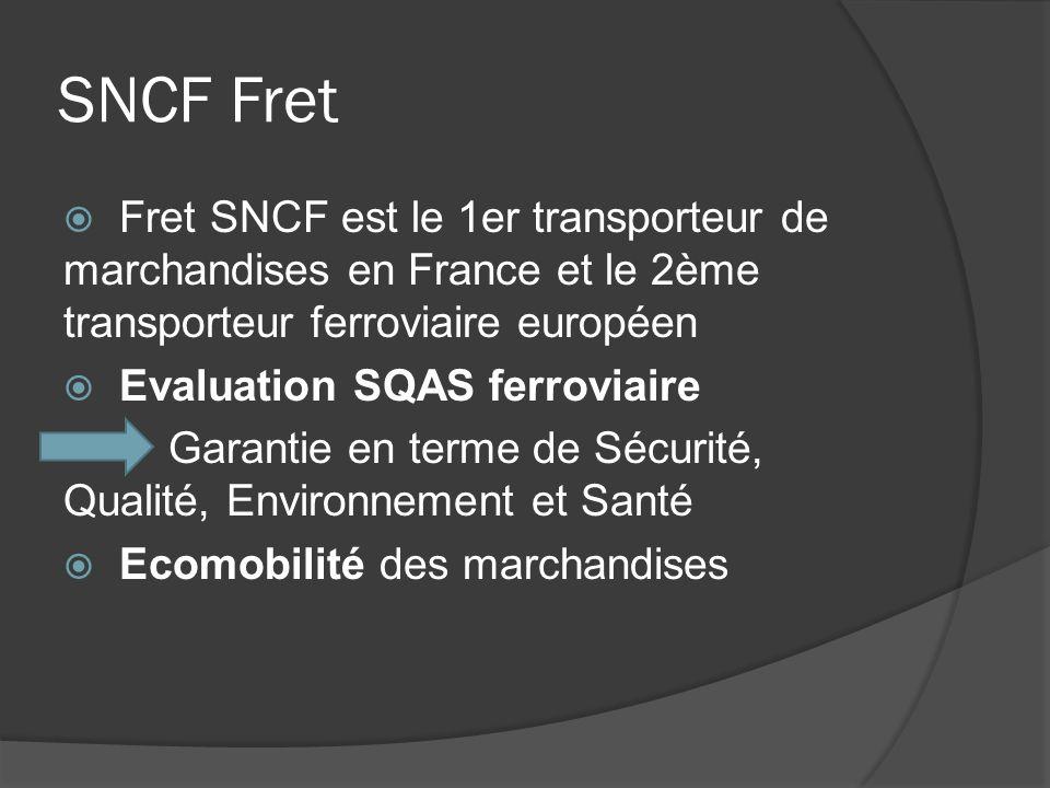 SNCF Fret Fret SNCF est le 1er transporteur de marchandises en France et le 2ème transporteur ferroviaire européen Evaluation SQAS ferroviaire Garanti