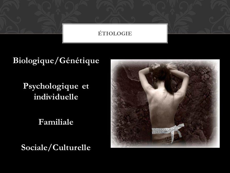 Biologique/Génétique Psychologique et individuelle FamilialeSociale/Culturelle ÉTIOLOGIE