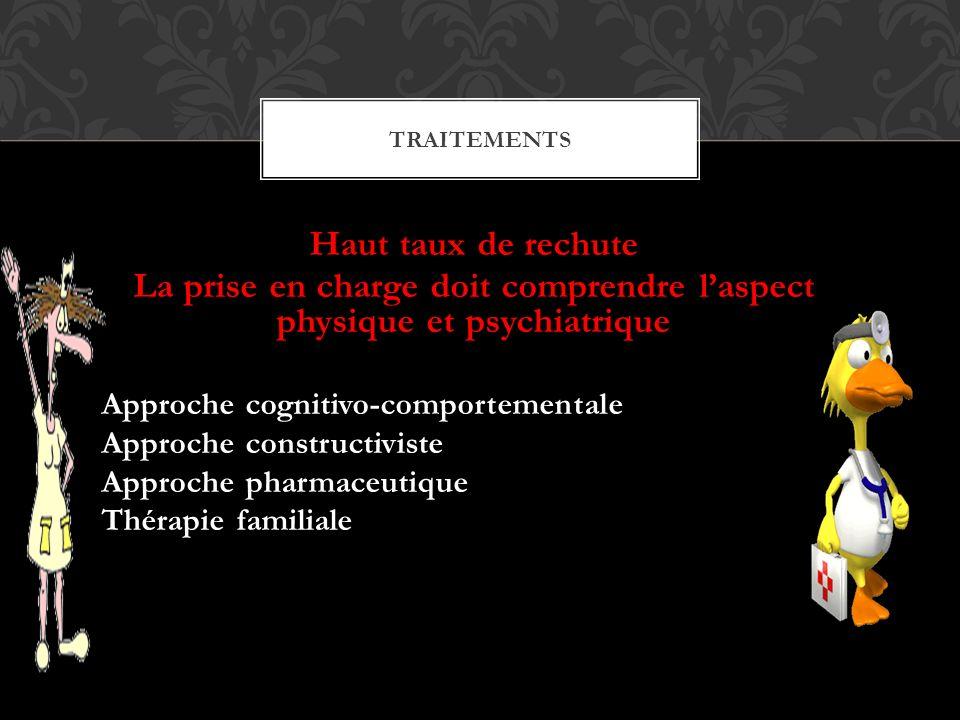 Haut taux de rechute La prise en charge doit comprendre laspect physique et psychiatrique Approche cognitivo-comportementale Approche constructiviste Approche pharmaceutique Thérapie familiale TRAITEMENTS