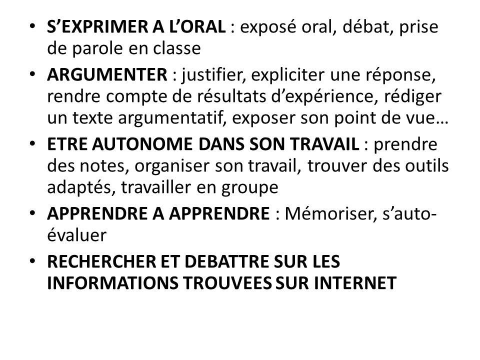 SEXPRIMER A LORAL : exposé oral, débat, prise de parole en classe ARGUMENTER : justifier, expliciter une réponse, rendre compte de résultats dexpérien
