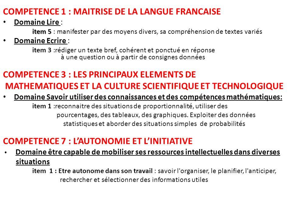 COMPETENCE 1 : MAITRISE DE LA LANGUE FRANCAISE Domaine Lire : item 5 item 5 : manifester par des moyens divers, sa compréhension de textes variés Doma