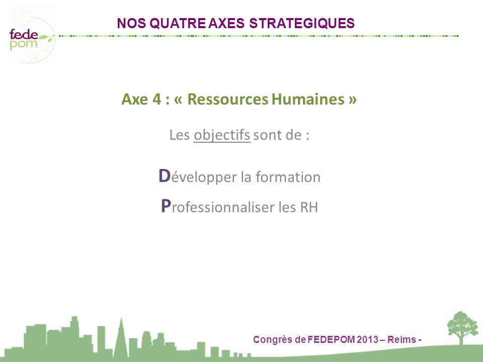 Congrès de FEDEPOM 2013 – Reims - NOS QUATRE AXES STRATEGIQUES Axe 4 : « Ressources Humaines » Les objectifs sont de : D évelopper la formation P rofessionnaliser les RH