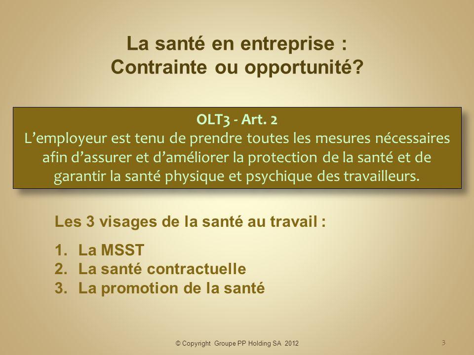 © Copyright Groupe PP Holding SA 2012 3 La santé en entreprise : Contrainte ou opportunité? Les 3 visages de la santé au travail : 1.La MSST 2.La sant