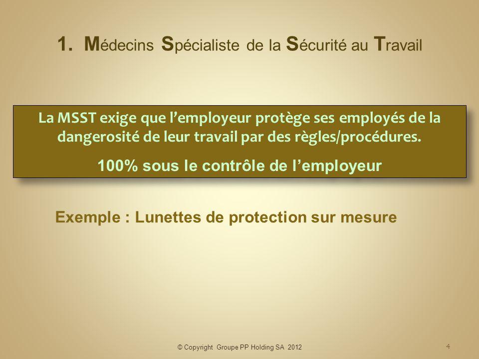 © Copyright Groupe PP Holding SA 2012 4 1.M édecins S pécialiste de la S écurité au T ravail Exemple : Lunettes de protection sur mesure La MSST exige