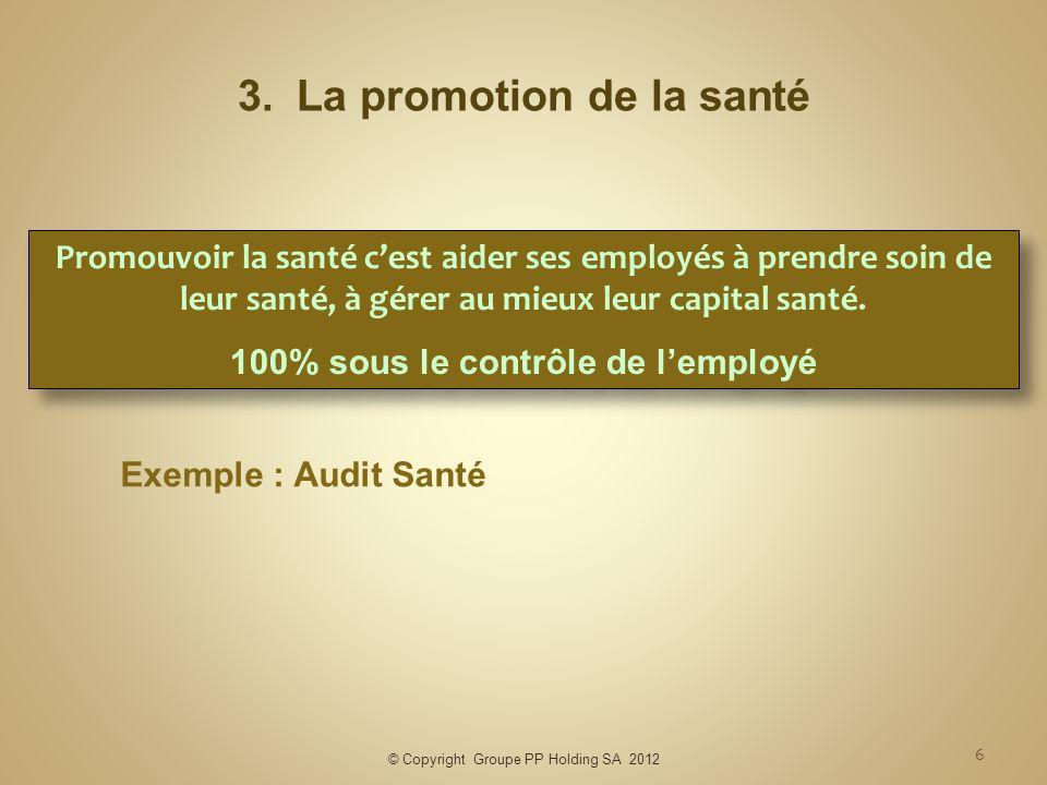 © Copyright Groupe PP Holding SA 2012 6 3.La promotion de la santé Exemple : Audit Santé Promouvoir la santé cest aider ses employés à prendre soin de