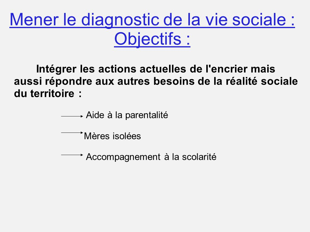Mener le diagnostic de la vie sociale : Objectifs : Intégrer les actions actuelles de l'encrier mais aussi répondre aux autres besoins de la réalité s