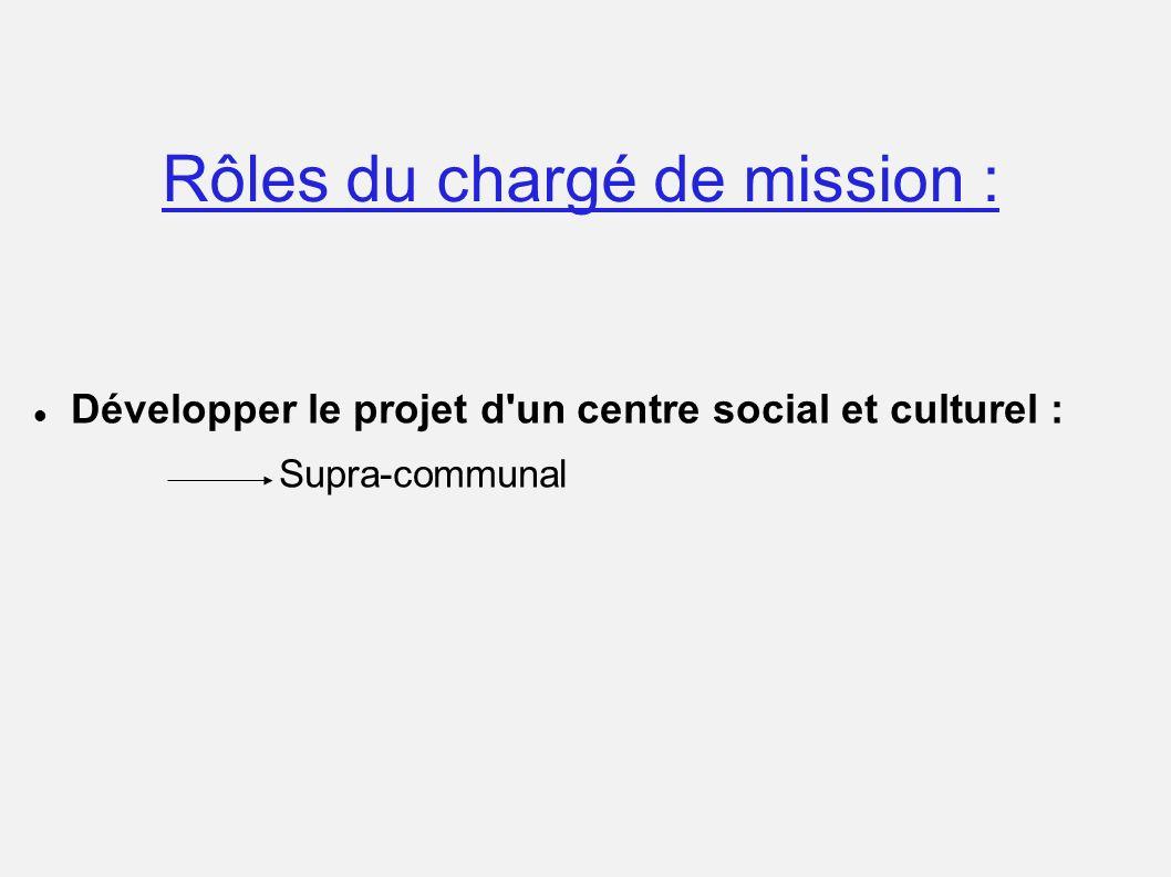 Rôles du chargé de mission : Développer le projet d'un centre social et culturel : Supra-communal