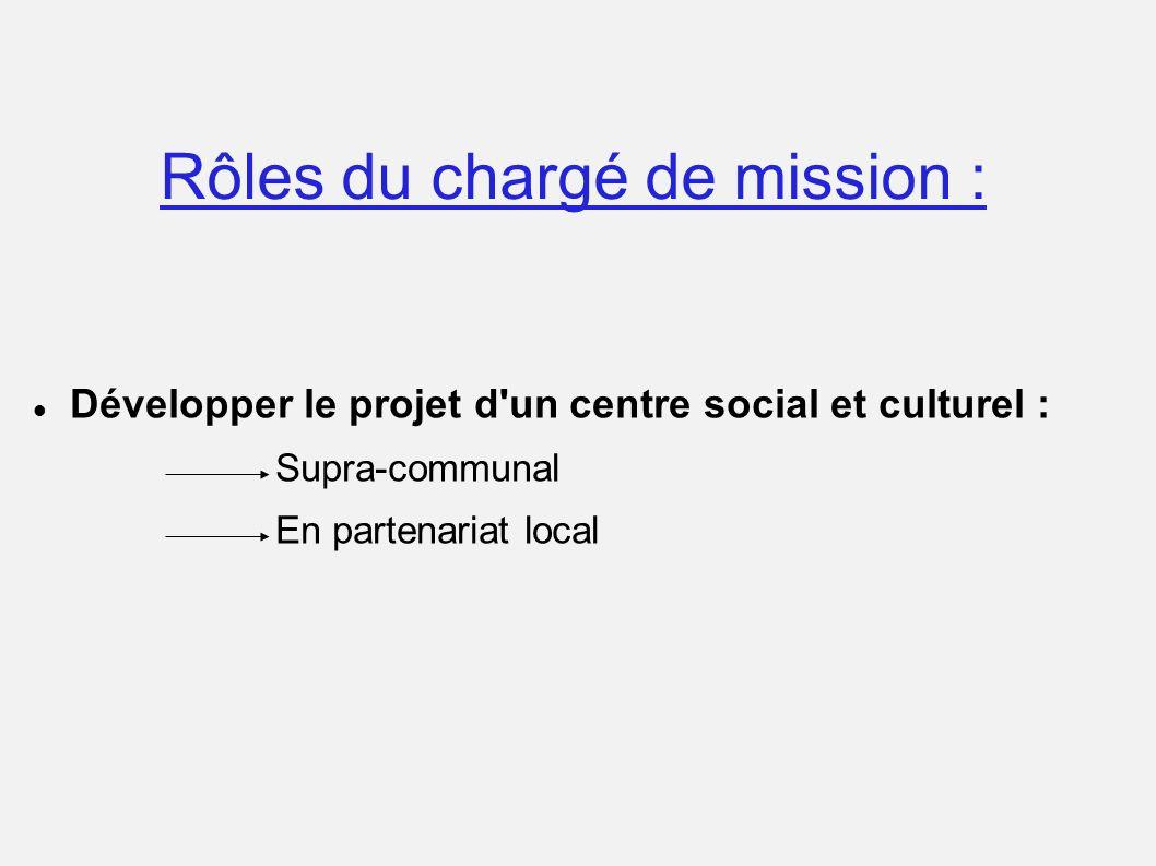 Rôles du chargé de mission : Développer le projet d'un centre social et culturel : Supra-communal En partenariat local