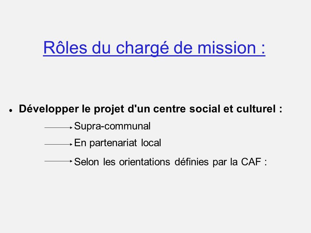Rôles du chargé de mission : Développer le projet d'un centre social et culturel : Supra-communal En partenariat local Selon les orientations définies