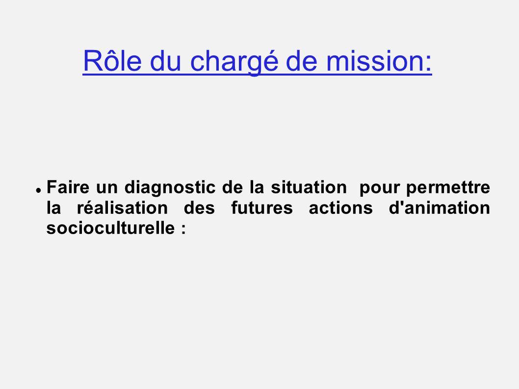 Rôle du chargé de mission: Faire un diagnostic de la situation pour permettre la réalisation des futures actions d'animation socioculturelle :