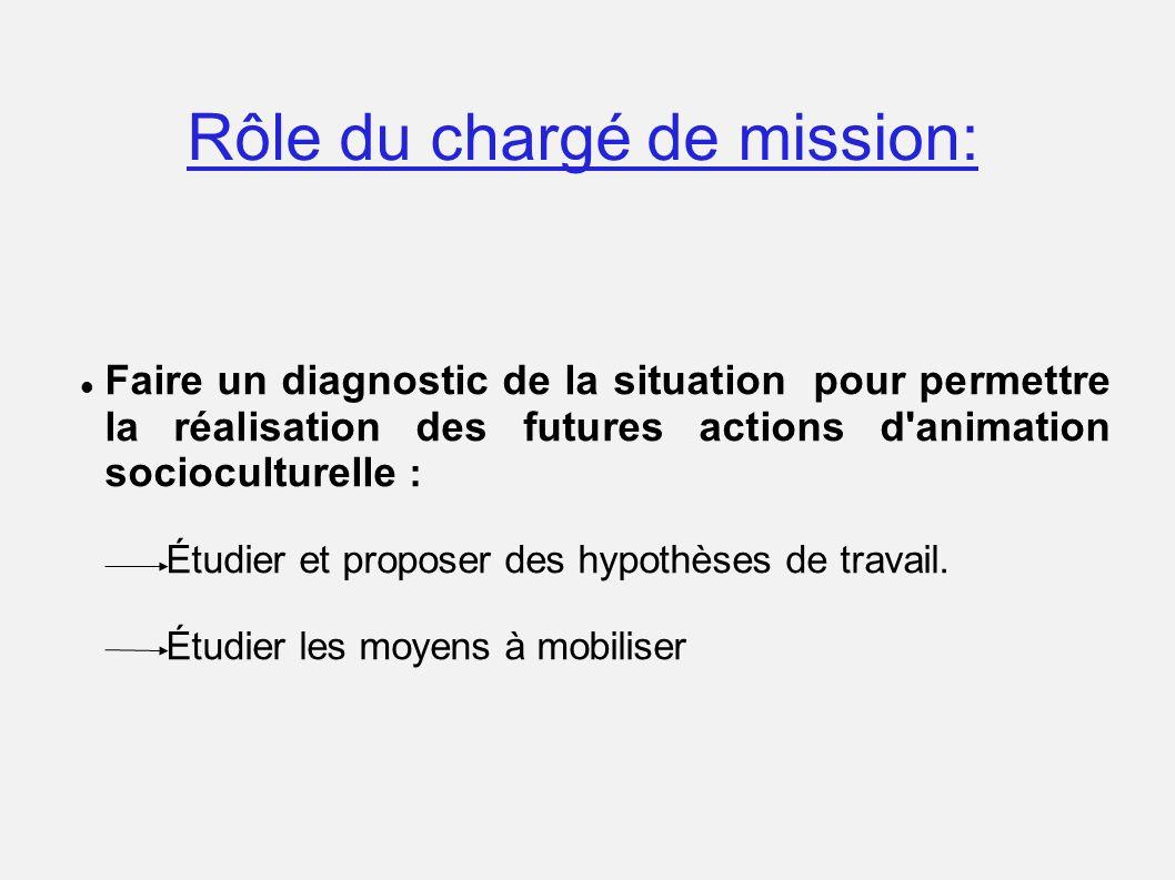 Rôle du chargé de mission: Faire un diagnostic de la situation pour permettre la réalisation des futures actions d'animation socioculturelle : Étudier