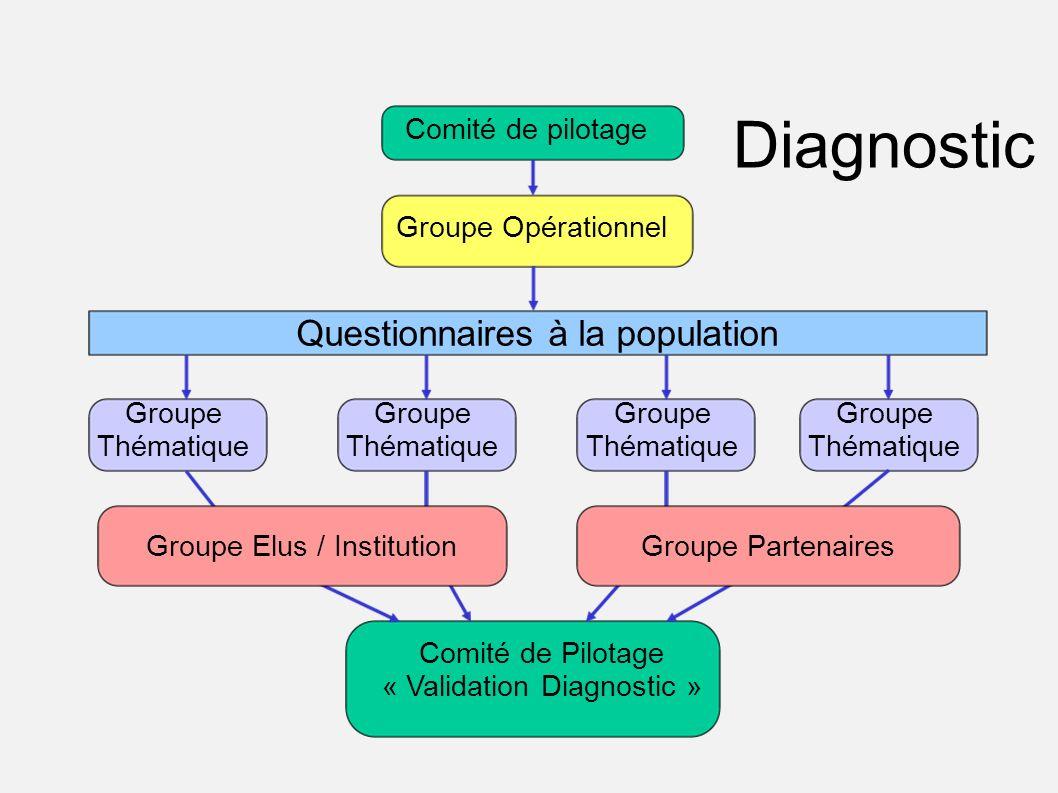 Questionnaires à la population Comité de pilotage Groupe Thématique Comité de Pilotage « Validation Diagnostic » Groupe Thématique Groupe Opérationnel