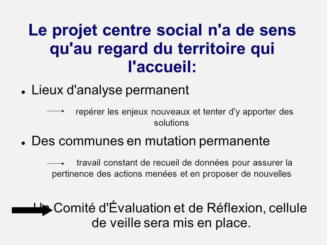 Le projet centre social n'a de sens qu'au regard du territoire qui l'accueil: Lieux d'analyse permanent repérer les enjeux nouveaux et tenter d'y appo