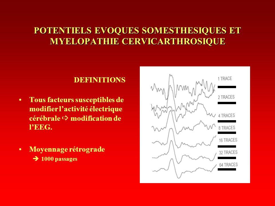 POTENTIELS EVOQUES SOMESTHESIQUES ET MYELOPATHIE CERVICARTHROSIQUE DEFINITIONS Tous facteurs susceptibles de modifier lactivité électrique cérébrale m