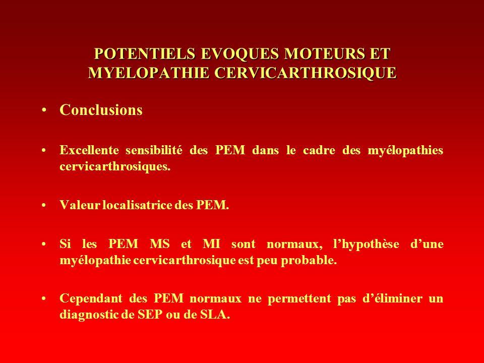 POTENTIELS EVOQUES MOTEURS ET MYELOPATHIE CERVICARTHROSIQUE Conclusions Excellente sensibilité des PEM dans le cadre des myélopathies cervicarthrosiqu