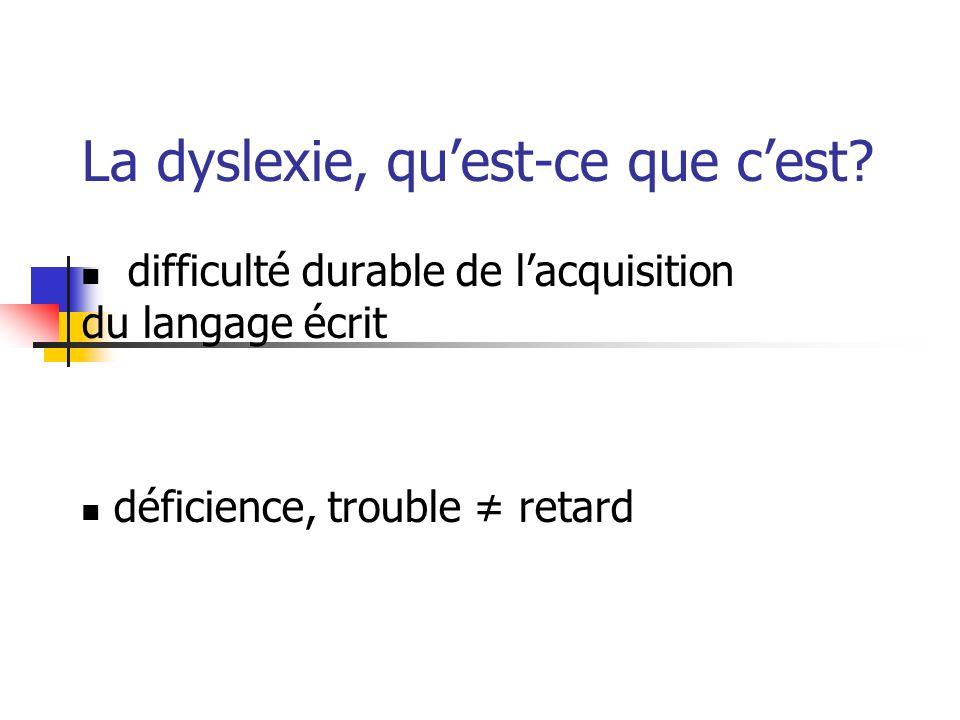 La dyslexie, quest-ce que cest? difficulté durable de lacquisition du langage écrit déficience, trouble retard