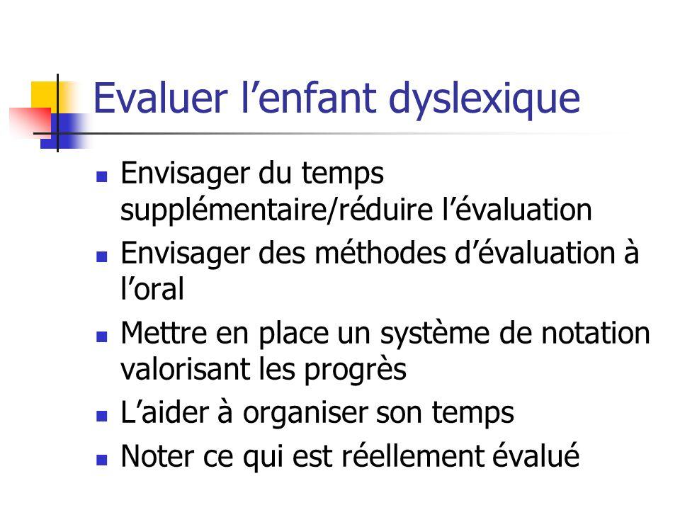 Evaluer lenfant dyslexique Envisager du temps supplémentaire/réduire lévaluation Envisager des méthodes dévaluation à loral Mettre en place un système