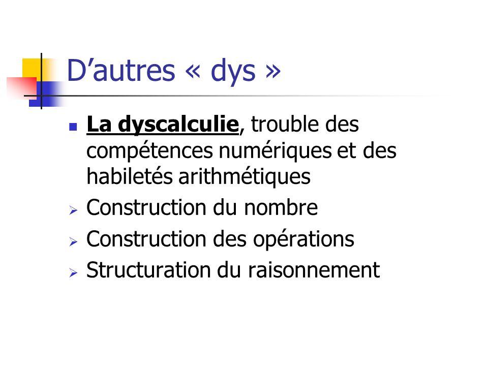 Dautres « dys » La dyscalculie, trouble des compétences numériques et des habiletés arithmétiques Construction du nombre Construction des opérations S