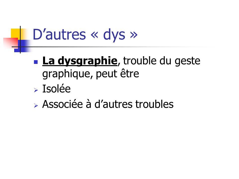 Dautres « dys » La dysgraphie, trouble du geste graphique, peut être Isolée Associée à dautres troubles