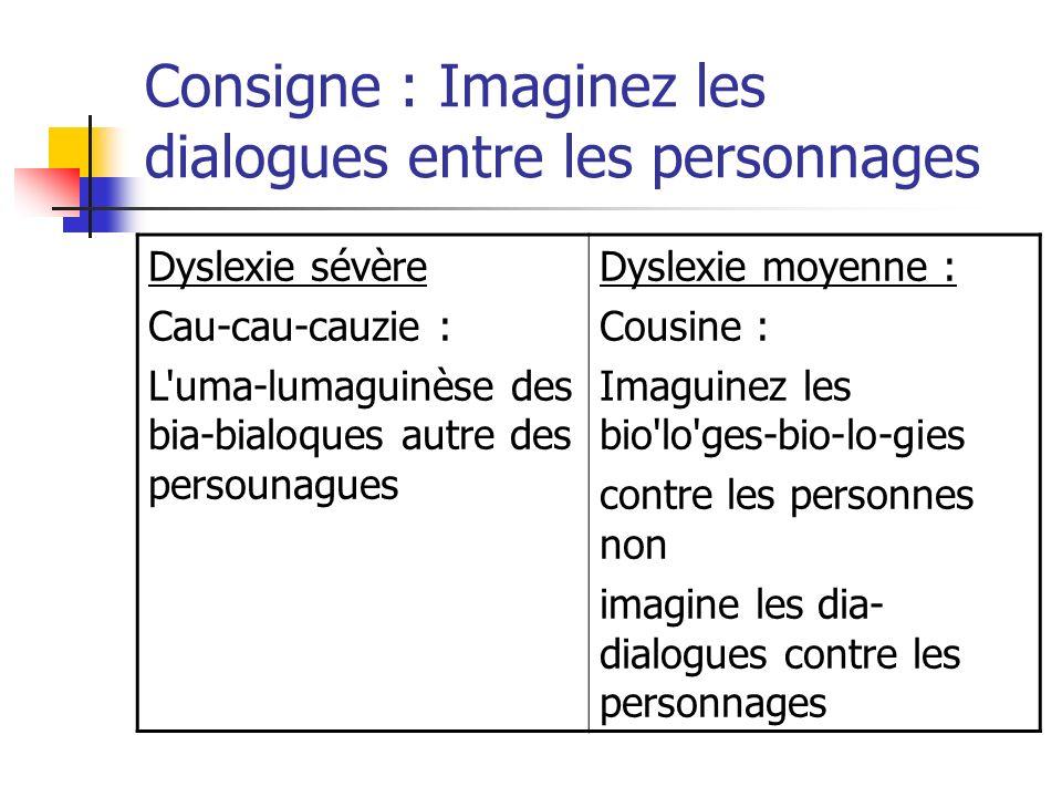 Consigne : Imaginez les dialogues entre les personnages Dyslexie sévère Cau-cau-cauzie : L'uma-lumaguinèse des bia-bialoques autre des persounagues Dy