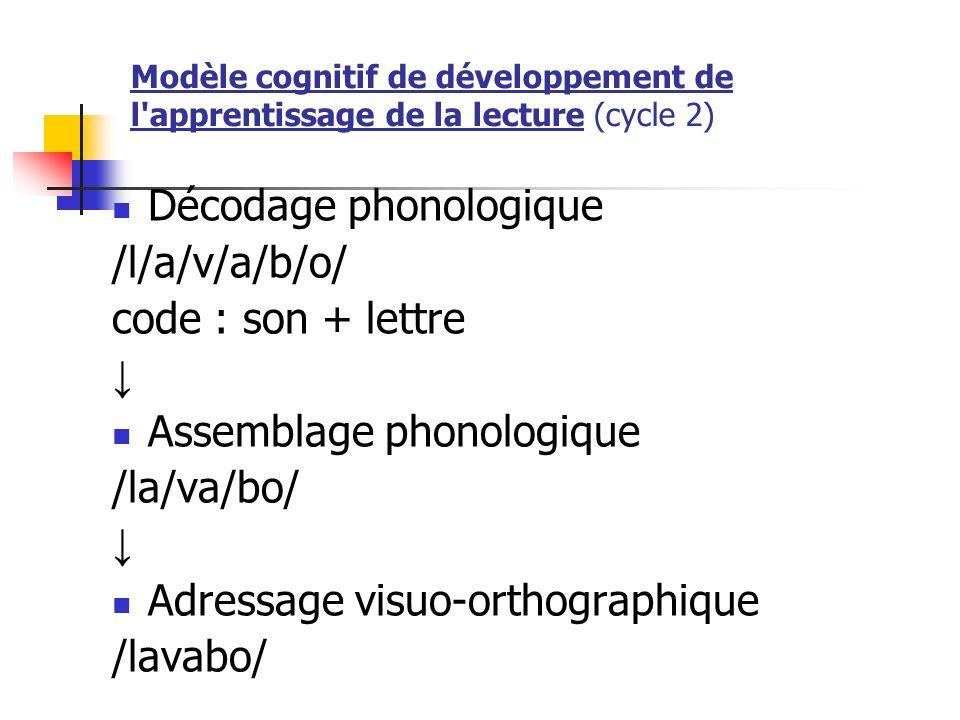Modèle cognitif de développement de l'apprentissage de la lecture (cycle 2) Décodage phonologique /l/a/v/a/b/o/ code : son + lettre Assemblage phonolo