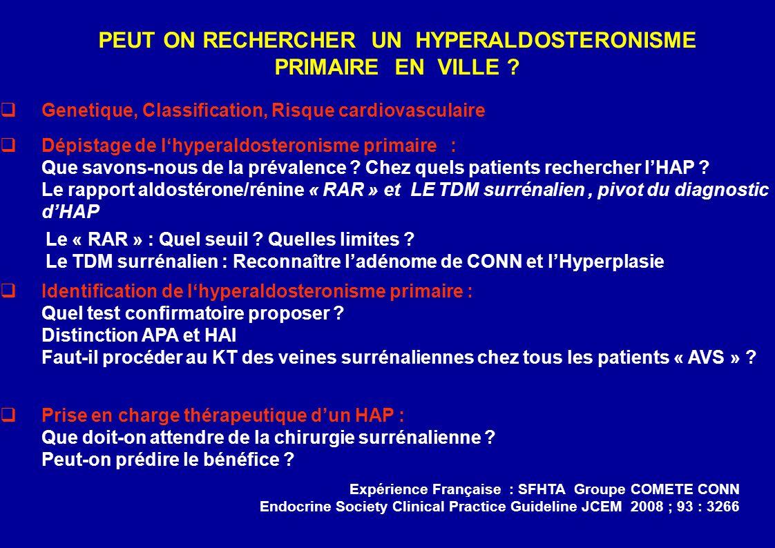 Genetique, Classification, Risque cardiovasculaire Dépistage de lhyperaldosteronisme primaire : Que savons-nous de la prévalence .