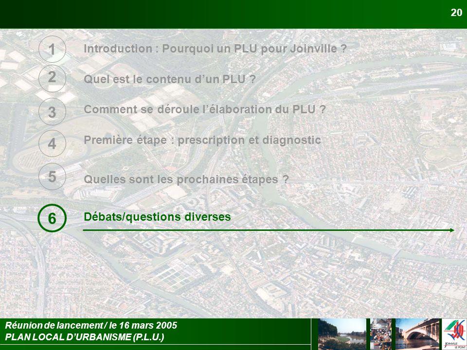 PLAN LOCAL DURBANISME (P.L.U.) Réunion de lancement / le 16 mars 2005 20 Introduction : Pourquoi un PLU pour Joinville ? Quel est le contenu dun PLU ?