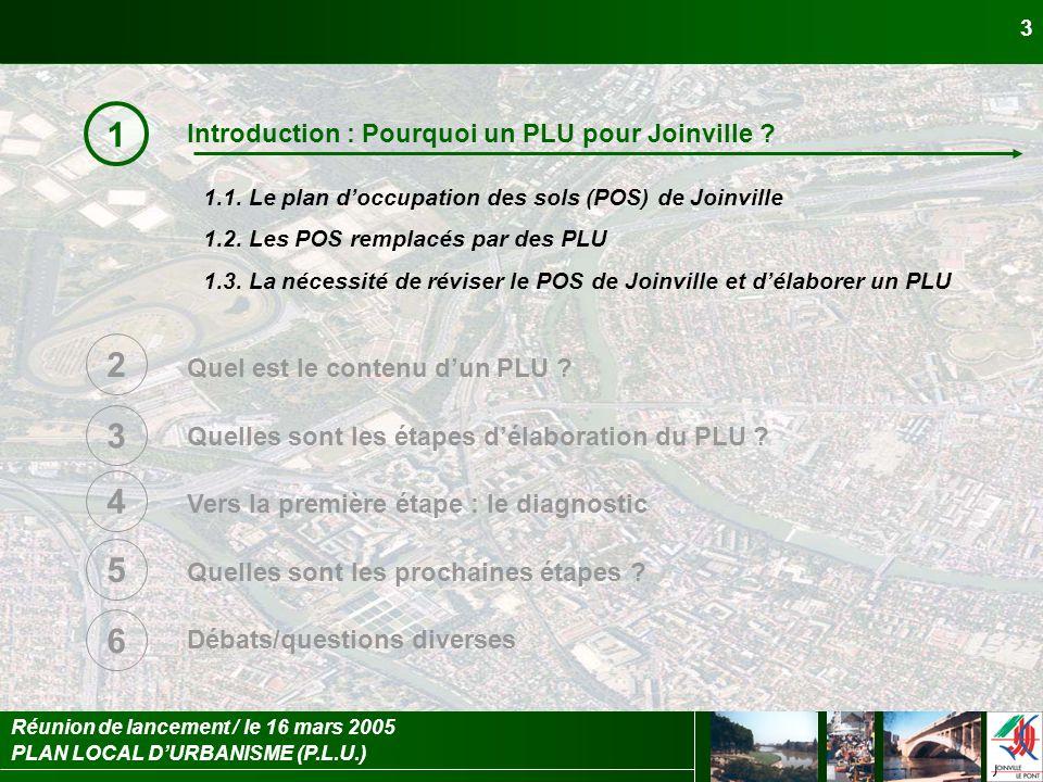 PLAN LOCAL DURBANISME (P.L.U.) Réunion de lancement / le 16 mars 2005 3 Introduction : Pourquoi un PLU pour Joinville ? Quel est le contenu dun PLU ?