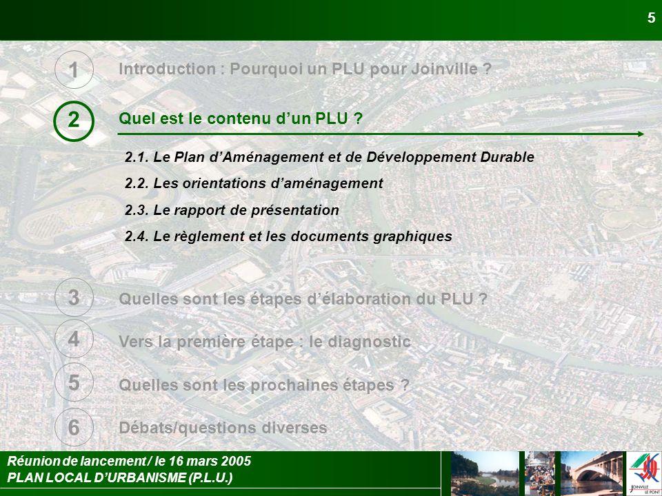 PLAN LOCAL DURBANISME (P.L.U.) Réunion de lancement / le 16 mars 2005 5 Introduction : Pourquoi un PLU pour Joinville ? Quel est le contenu dun PLU ?