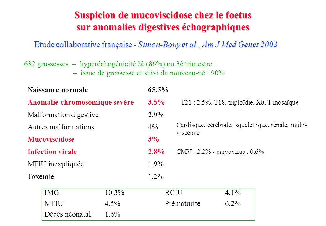 682 grossesses – hyperéchogénicité 2è (86%) ou 3è trimestre – issue de grossesse et suivi du nouveau-né : 90% Naissance normale65.5% Malformation digestive2.9% Mucoviscidose3% MFIU inexpliquée1.9% Toxémie1.2% Infection virale2.8% CMV : 2.2% - parvovirus : 0.6% Autres malformations4% Cardiaque, cérébrale, squelettique, rénale, multi- viscérale Anomalie chromosomique sévère3.5% T21 : 2.5%, T18, triploïdie, X0, T mosaïque IMG10.3%RCIU4.1% MFIU4.5%Prématurité6.2% Décès néonatal1.6% Etude collaborative française - Simon-Bouy et al., Am J Med Genet 2003 Suspicion de mucoviscidose chez le foetus sur anomalies digestives échographiques