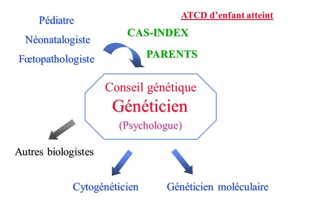 Fœtopathologiste NéonatalogistePédiatrePARENTS ATCD denfant atteint Cytogénéticien Généticien moléculaire Autres biologistes Conseil génétique (Psychologue) Généticien CAS-INDEX