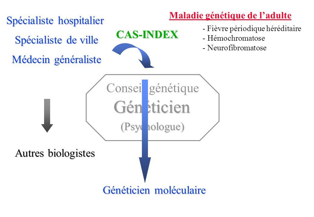 Médecin généraliste Spécialiste de ville Spécialiste hospitalier CAS-INDEX Maladie génétique de ladulte - Fièvre périodique héréditaire - Hémochromatose - Neurofibromatose Généticien moléculaire Conseil génétique (Psychologue) Généticien Autres biologistes