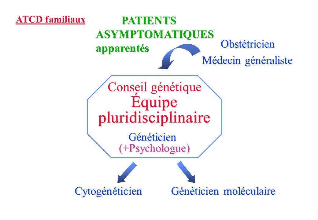 Médecin généraliste Obstétricien PATIENTS PATIENTSASYMPTOMATIQUESapparentés ATCD familiaux Conseil génétique Équipe pluridisciplinaire Généticien(+Psychologue) Cytogénéticien Généticien moléculaire