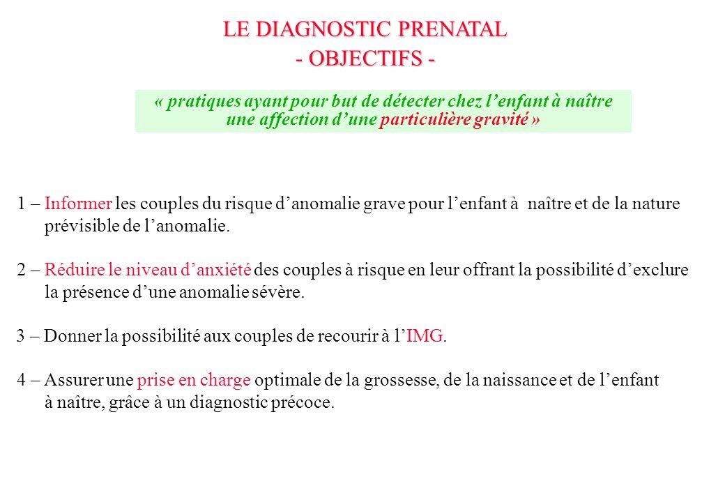 LE DIAGNOSTIC PRENATAL - Conséquences obstétricales et pédiatriques - IMG Prise en charge péri et néonatale des pathologies curables - cardiopathies - hernies diaphragmatiques - défauts de la paroi abdominale : omphalocèle, laparoschisis - valves de lurètre Prise en charge des pathologies ne nécessitant pas de traitement urgent - pyélectasies - inversions, translocations, dysgonosomies Traitement in utero - pathologie Rhésus : ETIU sang Rh- - toxoplasmose, CMV - compressions thoraciques et obstructions urinaires : dérivation percutanée in utero - chirurgie fœtale - hyperplasie congénitale des surrénales