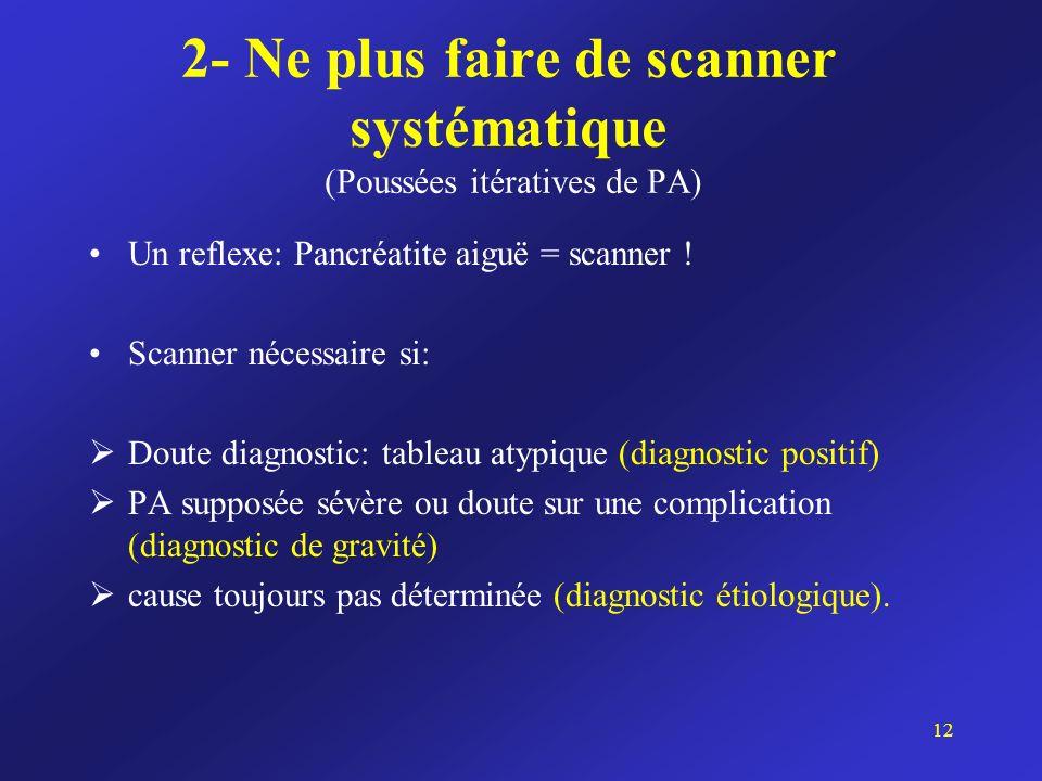 2- Ne plus faire de scanner systématique (Poussées itératives de PA) Un reflexe: Pancréatite aiguë = scanner ! Scanner nécessaire si: Doute diagnostic