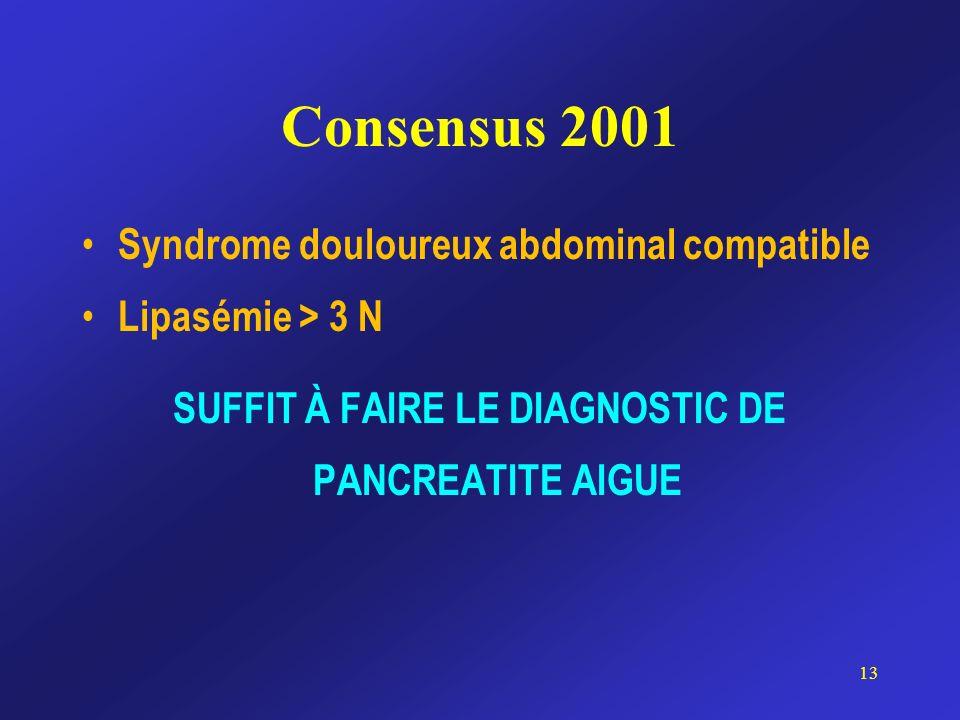Consensus 2001 Syndrome douloureux abdominal compatible Lipasémie > 3 N SUFFIT À FAIRE LE DIAGNOSTIC DE PANCREATITE AIGUE 13