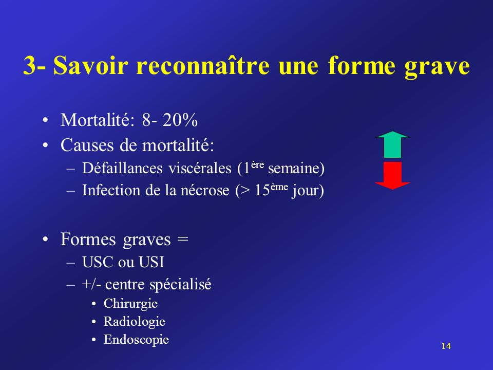 3- Savoir reconnaître une forme grave Mortalité: 8- 20% Causes de mortalité: –Défaillances viscérales (1 ère semaine) –Infection de la nécrose (> 15 è