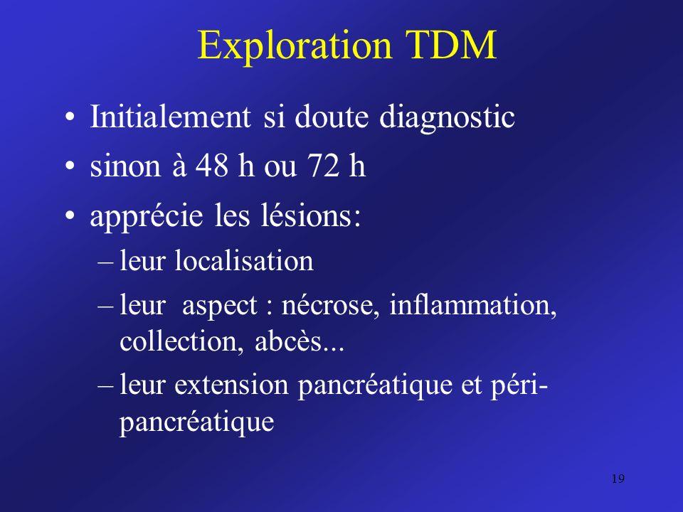 Exploration TDM Initialement si doute diagnostic sinon à 48 h ou 72 h apprécie les lésions: –leur localisation –leur aspect : nécrose, inflammation, c