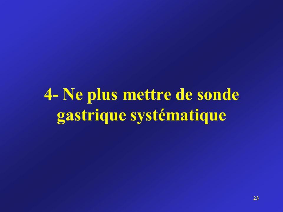 4- Ne plus mettre de sonde gastrique systématique 23